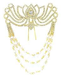 AASHYA MAYRO BAAHUBALI INSPIRED CZ DIAMOND AND PEARLS GOLDEN BRIDAL HAIR / BUN CLIP TIARA Wedding Party Hair Clip Hair Accessories