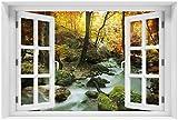 Wallario Acrylglasbild mit Fenster-Illusion: Motiv Wasserfall mit moosbedeckten Steinen im Herbstwald - 60 x 90 cm mit Fensterrahmen in Premium-Qualität: Brillante Farben, freischwebende Optik