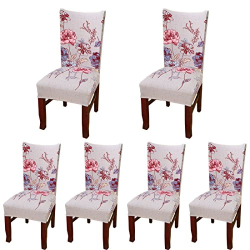 6 Pcs Dining Chair Cover Strtch Chair Slipcover Print