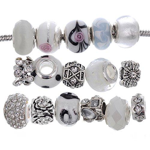Rubyca perline di vetro di murano a lume ciondolo tibetano cristallo braccialetti europei mix assortimento white