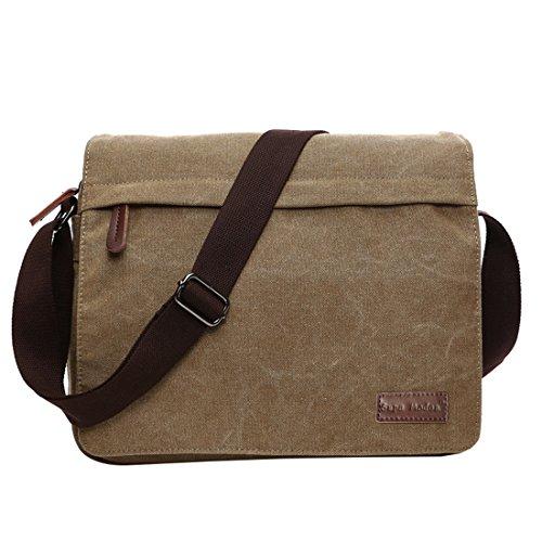 Leinwand Messenger Bag Umhängetasche Laptop Tasche Computer Tasche Umhängetasche aus Segeltuch Tasche Arbeiten Tasche Umhängetasche für Männer und Frauen, Herren, Khaki Large -