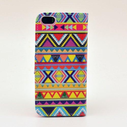 MOONCASE iPhone 5 Case Motif Conception Coque en Cuir Portefeuille Housse de Protection Étui à rabat Case pour iPhone 5 5S P11