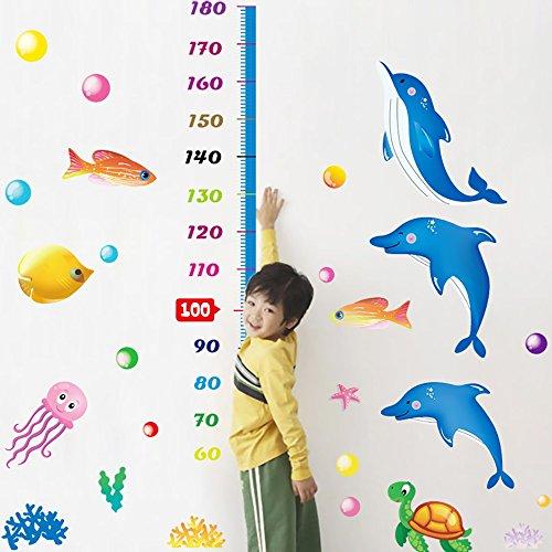 3D Delfin Puppe Tapete Aufkleber Cartoon Wandaufkleber Schlafzimmer Wand abnehmbare Wandaufkleber Buy Two Get One Free (Papier-puppe Handwerk)