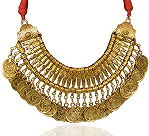 Sansar India Oxidized Ancient Gold Plated Coins Traditional Necklace for Girls and Women