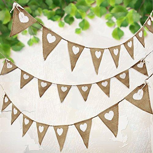 3m Wimpelkette Hochzeit Vintage Herz Jute Bunting Banner