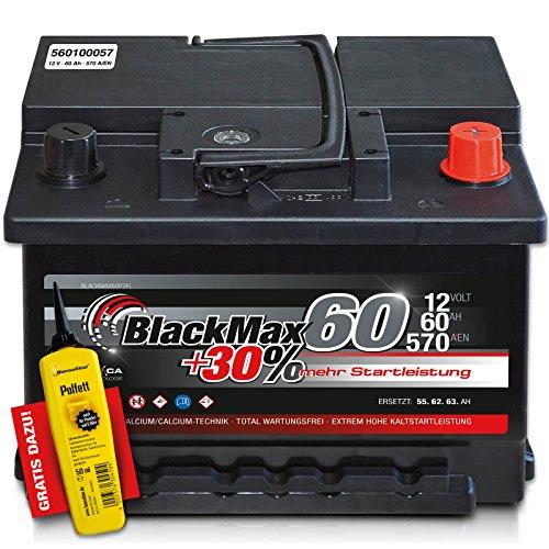 Preisvergleich Produktbild BlackMax+30% - 12 V / 60 Ah - 570 A/EN Autobatterie KFZ PKW Batterie inkl. Polfett