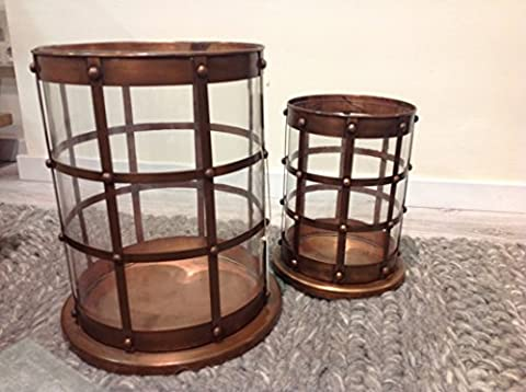 Set 2Candle Holder Metal Copper, Selection Cabana