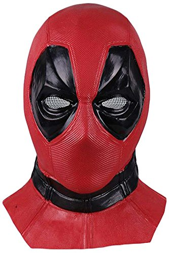 Deadpool Maske Halloween Latex Head Face Helm, Film DP Cosplay Haube Kopfbedeckung Gesichtsmaske Zubehör für Erwachsene (Deadpool Halloween-kostüme)