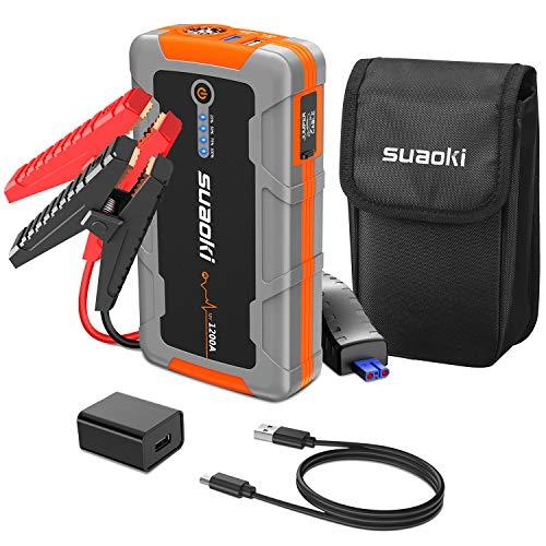 Starthilfe Powerbank SUAOKI 1200A 15000mAh Tragbarer Starthilfe feuerfest für 8L 12V Fahrzeug Gas und 6L Diesel, mit Typ-C, QC3.0, und intelligenten Batterieklemmen, LED-Taschenlampe