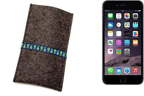 """flat.design Filzhülle """"Lisboa"""" für Apple iPhone 6 - passgenaue Handytasche aus 100% Wollfilz (anthrazit) - made in Germany Schutz Case für Apple iPhone 6 Tropfen - anthrazit"""