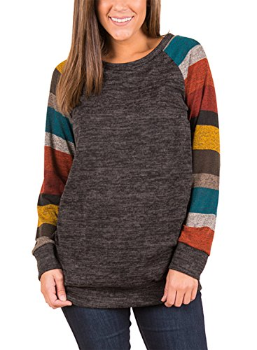 FIYOTE Womens Casual Long Sleeve Round Neck Tunic Sweatshirt Loose T Shirt Blouses Tops X-Large Gray 1