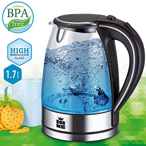 ForMe Bollitore Elettrico in Vetro 1.7L   2200W   Protezione Boil-Dry   Spegnimento Automatico   protezione contro il surriscaldamento   con illuminazione a LED   BPA Free