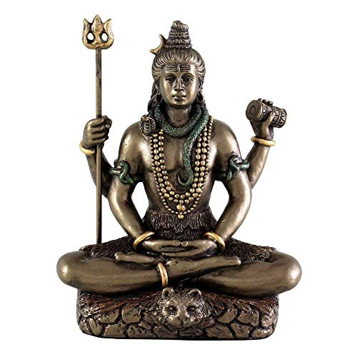 Collectible India 3.4-inch Cold Cast Bronze Lord Shiv Idol as Gifts (Multicolour)