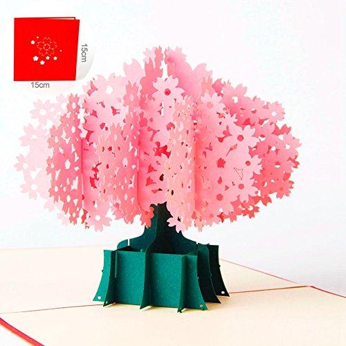 Uniqueplus beautiful cherry tree blossom creative 3d pop up biglietti di auguri per compleanno, festa della mamma, chirstmass, grazie, anniversario, matrimonio