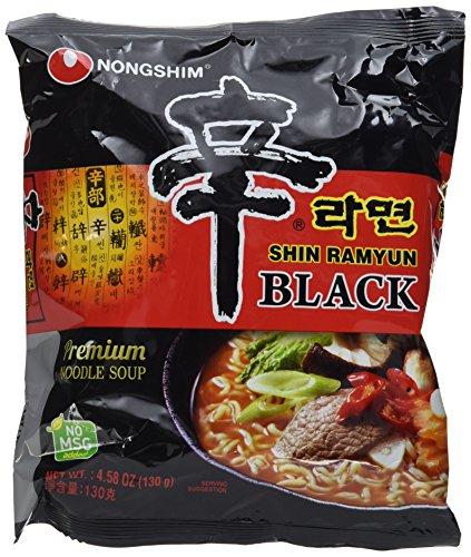 Nong Shim Instantnudeln Shin Ramyun Black - Koreanische Rindfleisch Ramen Suppe scharf mit Knoblaucharoma - schnelle Zubereitung - 4er Vorteilspack à 130g