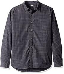 Theory Mens Zack Ps Crestone Button Down Shirt, Black, XX-Large