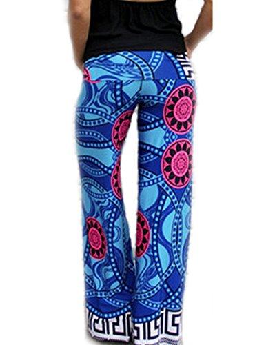Donna Pantaloni Elegante Palazzo Larghi Comodo Pantaloni Gamba Larga Casual Baggy Blu