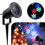 Christmas Snowflake Projector Light - SurLight LED Waterproof Moving Snowflake Light, Landscape Projector Lamp for Christmas Holiday Home Party Wall Lawn Indoor Outdoor Decoration, Multi-colored