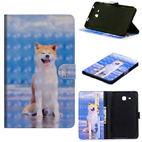 LuckyW 3D Glitzer Leder Handyhülle für Samsung Galaxy Tab E 9.6 Zoll SM-T560 Ledertasche Flip Kuntsleder mit Kartenfach Magnetverschluss - Hund