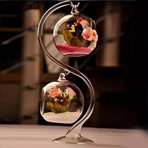 JRFBA Double Pendaison Glass Crystal Vase Fleur D'Ameublement Décoration Hydroponique Bijoux De