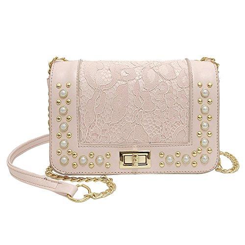 Damen Leder Crossbody Umhängetasche Retro Perle Handtasche Abendtasche Reisen Messenger Tasche Frauen Kette Schultertasche Citytasche (Rosa) -