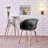 QiXian Handlauf Kunststoff Esszimmerstuhl Einfache Moderne Mode Coffee Shop Bürostuhl Verhandlungsstuhl Konferenzstuhl, Schwarz, 46 * 46 * 76 cm