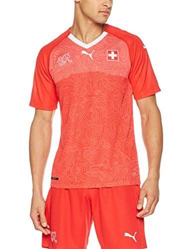 Puma Herren Suisse Home Replica Shirt, Red White, L (Kreuz Brust-kragen)