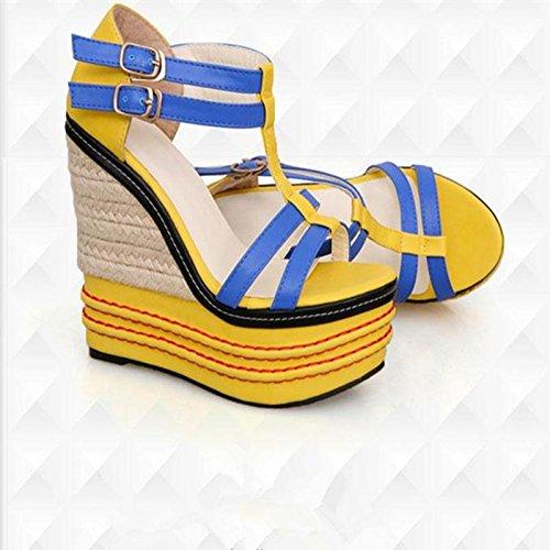 LvYuan Frauen-Sommer-Sandalen / Büro & Karriere / Sexy Ultra High Heel / Wasserdichte Plattform / Wedge Ferse / Mischfarbe / Gürtelschnalle / böhmische nationale Art Yellow