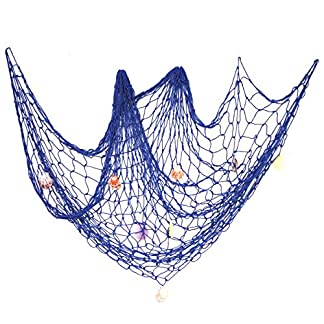 eZAKKA Nautical Fish Net Decorative Fish Netting Fishing Net Decor 79 x 59inch Ocean Pirate Beach Theme Party Home Decorations, Mediterranean Style Decor with Sea Shells, Blue 51 2B5vQ PPgL
