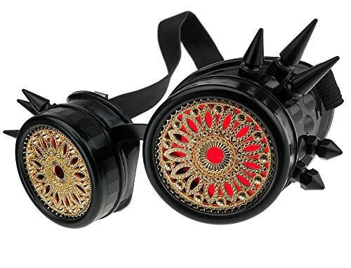 MFAZ Morefaz Ltd Welding Cyber Goggles Schutzbrille Schweißen Sonnenbrille Steampunk Goth Round Cosplay Brille Party Fancy Dress (Black Spikes Design)