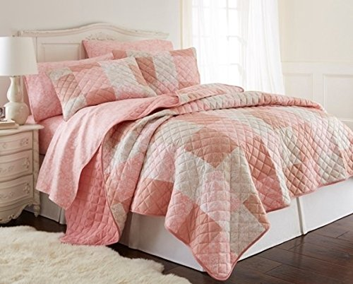 Shavel Home Products Mikroflanell-Flanell-Patchwork, 3-teilig Bettwäsche-Set Full/Queen Quilt Set Rose