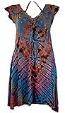 Guru-Shop Batik Minikleid, Farbenfrohes Boho Kleid, Damen, Hellblau, Synthetisch, Size:38, Kurze Kleider Alternative Bekleidung