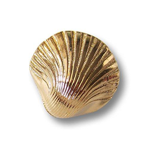 Knopfparadies - 6er Set bezaubernde Kunststoff Ösen Knöpfe in plastischer gewölbter Muschel Form / glänzend metallic goldfarben / Kunststoffknöpfe / Ø ca. 22mm