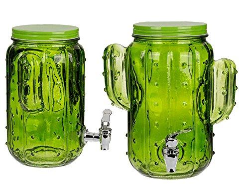 MC-Trend® Glas Gertränkespender Kaktus in frischem Grün 3,8 Liter mit Zapfhahn Saftspender Wasserspender Einmachglas mit Kunststoffhahn und Metalldeckel