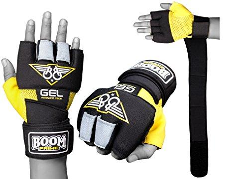 BOOM Boxing Gelb / Schwarz Neopren GEL Handschuhe Handgelenkstütze wickelt MMA Boxsack Innenhandschuh S/M