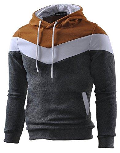 Mooncolour Herren-Sweatshirt Color Block Hoodie, Sport, Outwear Gr. S, dunkelgrau - Blöcke Hoodie