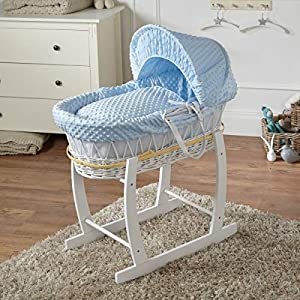 FYLO Blue Dimple White Wicker Moses Basket with White Rocking Stand