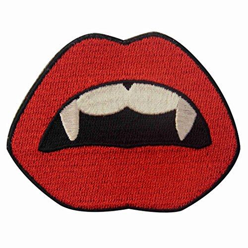 Aufnäher, bestickt, Design: Vampire Mund Blut Sexy Red Lips, zum Aufbügeln oder (Diy Vampir Mädchen Kostüm)
