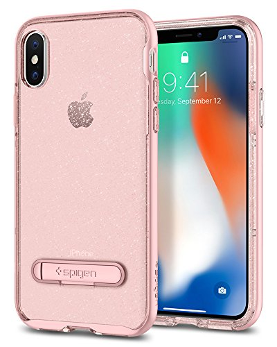 Cover iPhone X, Spigen [Crystal Hybrid Glitter] Custodia iPhone X con custodia interna flessibile e telaio rigido rinforzato per Apple iPhone X (2017) - Gold Quartz - 057CS22149 Rose Quartz