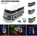 Nostalgie LED Disco Bully Bus Box | Bluetooth | Schwarz | Car Multimedia Spaeker | Radio | MP3 | USB | MicroSD |Super Sound |Lithium-Ionen Akku|20x7x6cm