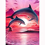 Sunnay Diamond Painting Set,Delphin Tier DIY 5D Diamant Painting Crystal Strass Stickerei, Vollbohrer Art Groß Bilder Diamonds Malerei,30 x 40 cm