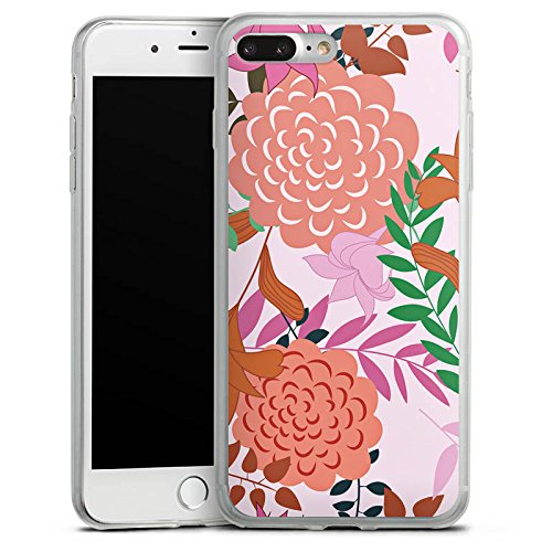 Apple iPhone 8 Slim Case Silikon Hülle Schutzhülle Blumen Muster bunt Silikon Slim Case transparent