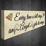 BBCUE Bell Rings Engel Flügel Schild aus Holz freistehend Memorial Heaven Engel Schild
