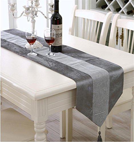 XXFFH Tischläufer Velvet Diamant Tischläufer Couchtisch Drapieren Luxuriöse Polstermöbel Zeit Tv-Möbel Tischtuch , Grey , Runner 33*210Cm/400G