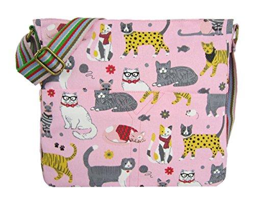 Kukubird Divers Animaux Et Fleurs Bandoulière Design Fourre-tout Haut-poignée Sac À Main Pink Cat