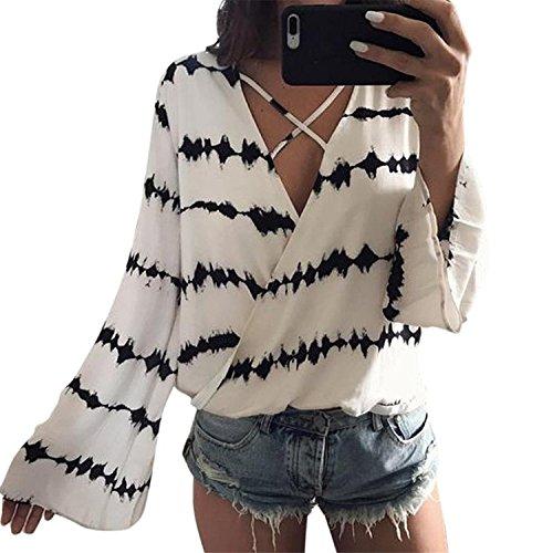 Minetom Damen Sommer Lange Ärmel T-Shirt V-Ausschnitt mit Schnürung Vorne Oberteil Tops Chiffon Bluse Shirt Damen Chiffon-Bluse mit V-Ausschnitt Kurzarm-Spitze Hemden Weiß-Schwarz DE 38 (Flare-hose Schnur)