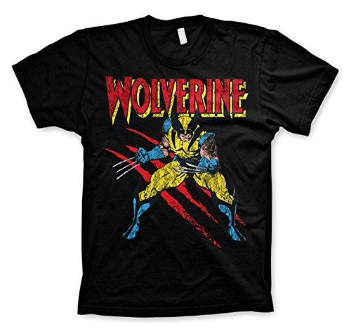 Wolverine Scratches X-Men Avengers Official Marvel Comics Black Mens T-Shirt