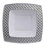 Decorline -Stabile quadratischen Luxe Kunststoff Einwegteller Plastik Teller -Einweg Geschirr - Weiß mit Silberrand -Diamond Collection.(Suppenteller 400ml)