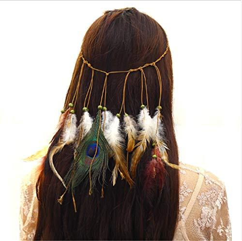Kostüm Boardwalk Empire Party - Chasiroma Hippie-Stirnband mit Pfauenfedern, Bohemia Tribal, indisches Hippie-Kopfbedeckung, geflochtene Perlen, Kopfbedeckung, Festival, Haarschmuck
