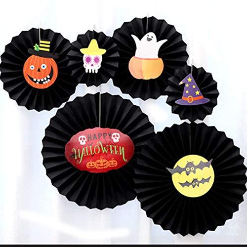 Halloween-Girlande, Papierfächer, Wabenmuster, rund, für Geburtstage, Hochzeit 6pcs, Black